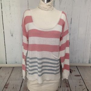 Ann Taylor Pink, White & Gray Striped Sweater
